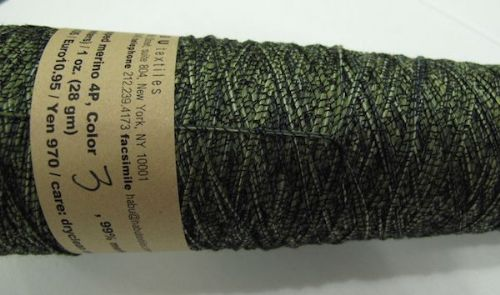 Habu textiles Silk wrapped merino N80 - Lime wrapped with black
